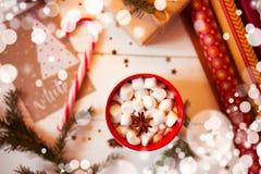 杯子热巧克力饮料 可可粉用蛋白软糖和桂香 图库摄影