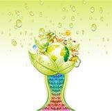 杯子生态绿色世界 免版税库存图片