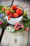杯子用新鲜的莓果 免版税库存图片