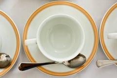 杯子空的茶碟顶视图 免版税库存图片