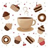 杯子茶和松饼 免版税库存照片