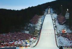 杯子跳的滑雪世界 免版税库存照片