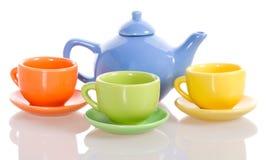 杯子集合茶壶 免版税库存图片