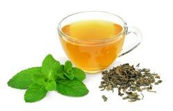 杯子绿色造币厂的茶 库存图片