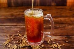 杯室内看法啤酒用在基地的麦子在一间黑暗的客栈的一张木桌上 图库摄影