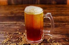 杯室内看法啤酒用在基地的麦子在一间黑暗的客栈的一张木桌上 免版税图库摄影