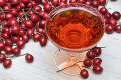杯山楂树利口酒和山楂树果子 图库摄影