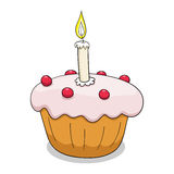 杯形蛋糕与概述的传染媒介例证 免版税库存照片