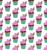 杯形蛋糕乱画无缝的传染媒介样式 免版税库存照片