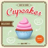 杯形蛋糕减速火箭的海报 免版税库存照片