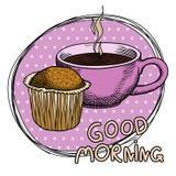 杯形蛋糕和一个杯子蒸在一块桃红色板材的芳香咖啡 愿望早晨好 图画要素自然徒手画风格化 库存例证