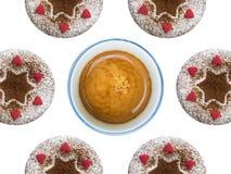 杯形蛋糕和咖啡 免版税库存照片