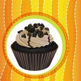 杯形蛋糕和墙纸 库存例证