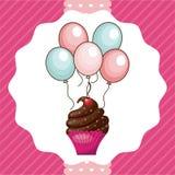 杯形蛋糕和气球象 愉快生日的设计 背景装饰图象风格化漩涡向量挥动 向量例证