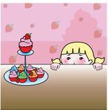 杯形蛋糕和草莓背景 免版税库存图片