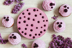 杯形蛋糕和莓果奶油甜点点心装饰与 免版税库存照片
