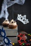杯形蛋糕喜欢鬼魂万圣夜点心 免版税图库摄影