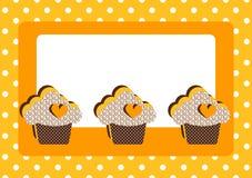 杯形蛋糕圆点花样的布料边界框架看板卡 库存图片