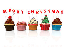 杯形蛋糕圣诞快乐 免版税图库摄影
