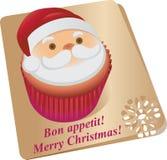 杯形蛋糕圣诞老人 蓝色云彩图象彩虹天空向量 免版税图库摄影