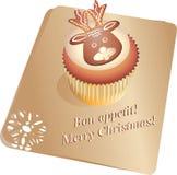 杯形蛋糕圣诞节鹿 蓝色云彩图象彩虹天空向量 免版税库存照片