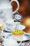 杯形蛋糕在妙境喜欢阿丽斯 库存图片