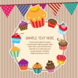 杯形蛋糕布局框架设计 免版税库存照片