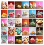 杯形蛋糕拼贴画  库存图片