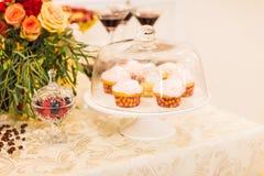 杯形蛋糕沙漠奶油桃红色 库存照片
