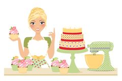 杯形蛋糕烘烤妇女 免版税图库摄影