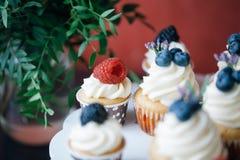 杯形蛋糕用在黑桌上的莓果 自创 宏指令 莓和蓝莓 没有染料的概念自然食物 库存图片