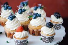 杯形蛋糕用在黑桌上的莓果 自创 宏指令 莓和蓝莓 没有染料的概念自然食物 库存照片