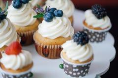 杯形蛋糕用在黑桌上的莓果 自创 宏指令 免版税图库摄影