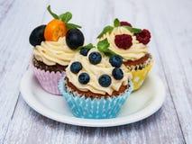 杯形蛋糕用新鲜的莓果 免版税库存照片