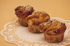 杯形蛋糕用桂香和芝麻籽 免版税库存图片