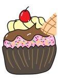 杯形蛋糕用樱桃 免版税库存图片