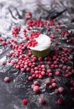 杯形蛋糕用红色莓果,在一黑暗的backgroun的蔓越桔 免版税库存图片