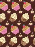 杯形蛋糕的无缝的样式 库存图片