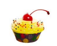 杯形蛋糕花梢黄色 免版税库存照片