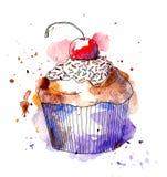 杯形蛋糕蛋糕用樱桃 水彩 向量例证