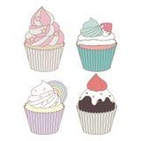 杯形蛋糕设计传染媒介集合 免版税图库摄影