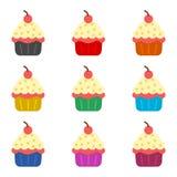 杯形蛋糕象或商标,彩色组 皇族释放例证
