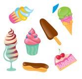 杯形蛋糕,冰淇凌,蛋糕 免版税库存图片