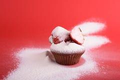杯形蛋糕,草莓 图库摄影