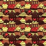杯形蛋糕仿造无缝的甜点 免版税库存照片
