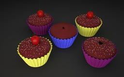 杯形蛋糕3D照片 库存例证