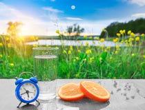 杯新鲜的冷水用在桌上的桔子在美丽如画中绿色花草甸 库存照片