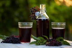 杯新鲜的接骨木浆果糖浆和接骨木浆果 免版税图库摄影