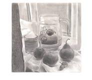 杯新鲜的汁液用梨、桃子和葡萄 免版税库存照片