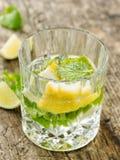 杯柠檬和薄菏水 库存照片